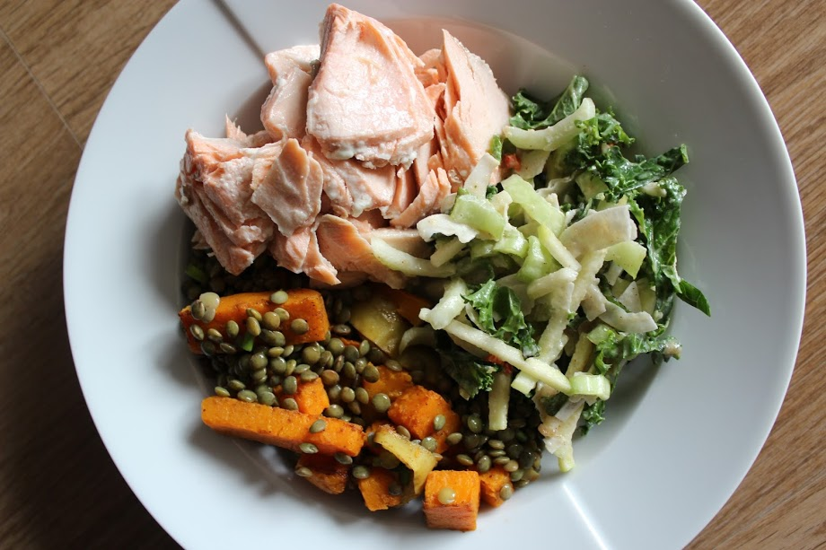 Day Three: Baked Salmon, Squash, Lentil & Apple Salad, Coconut Apple Slaw