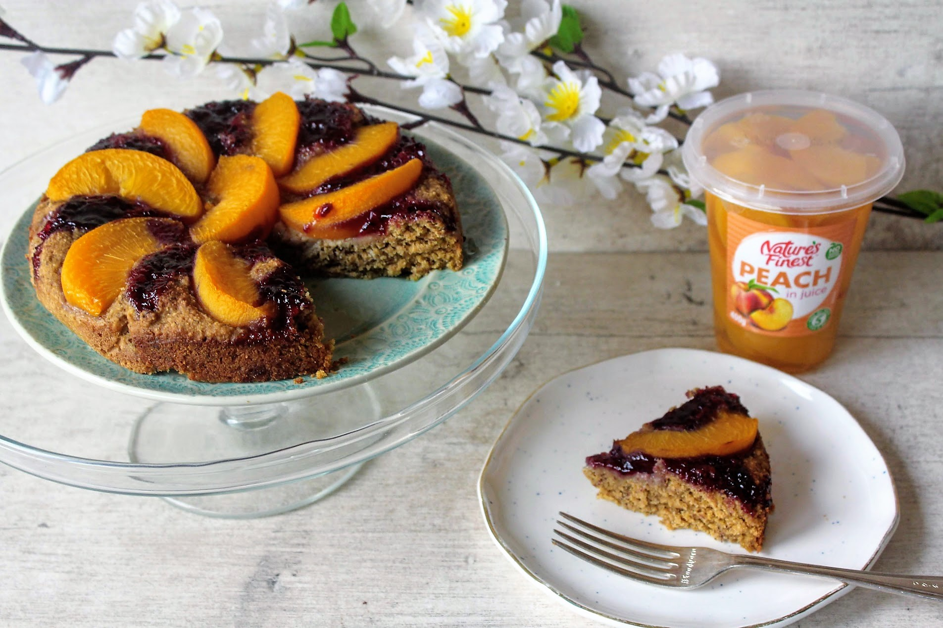 Peach Blueberry Amp Almond Cake Spamellab S Health Food Blog