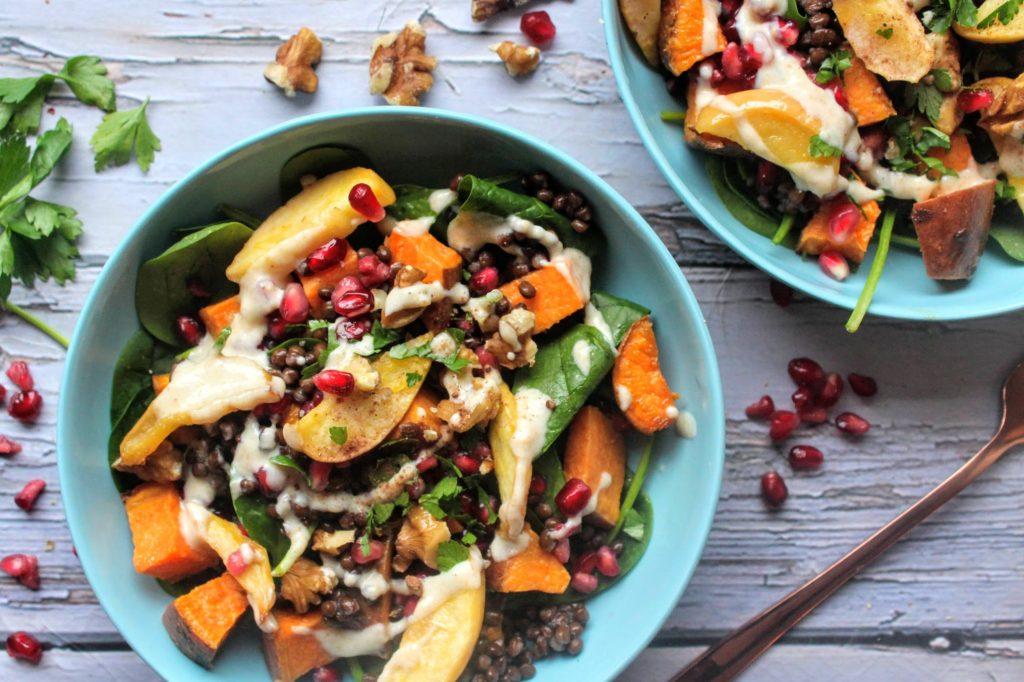 Salada de batata doce torrada com bordo, maçã e lentilha - Blog de comida saudável do SpamellaB 4